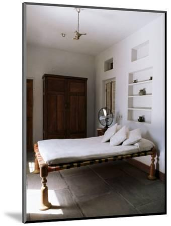 Bedroom with Traditional Low Slung Bed or Charpoy in a Home in Amber, Near Jaipur, India-John Henry Claude Wilson-Mounted Photographic Print