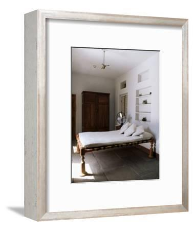 Bedroom with Traditional Low Slung Bed or Charpoy in a Home in Amber, Near Jaipur, India-John Henry Claude Wilson-Framed Photographic Print