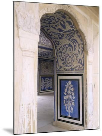 Stylized Foral Motif, Chalk Blue and White Painted Mahal, the City Palace, Jaipur, India-John Henry Claude Wilson-Mounted Photographic Print