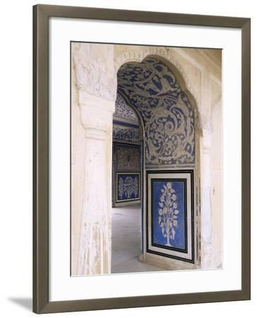 Stylized Foral Motif, Chalk Blue and White Painted Mahal, the City Palace, Jaipur, India-John Henry Claude Wilson-Framed Photographic Print