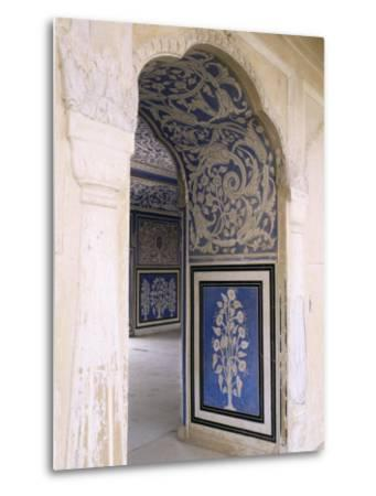 Stylized Foral Motif, Chalk Blue and White Painted Mahal, the City Palace, Jaipur, India-John Henry Claude Wilson-Metal Print