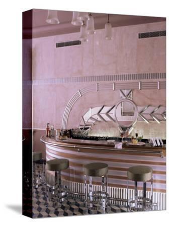 Art Deco Period Bar Area, Usha Kiran Palace Hotel, Gwalior, Madhya Pradesh State, India-John Henry Claude Wilson-Stretched Canvas Print