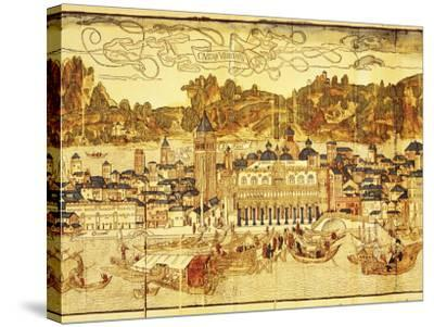 Early Panorama of Venice Dating from the 15th Century, Sansovino Library, Venice, Veneto, Italy-Adam Woolfitt-Stretched Canvas Print
