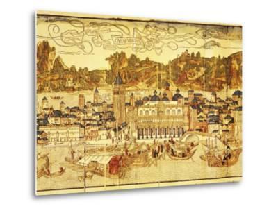 Early Panorama of Venice Dating from the 15th Century, Sansovino Library, Venice, Veneto, Italy-Adam Woolfitt-Metal Print