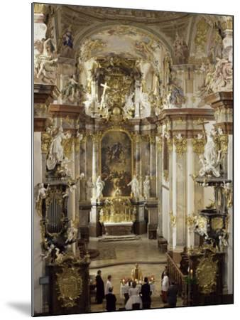Interior of Roccoco Abbey Church, Linz, Austria-Adam Woolfitt-Mounted Photographic Print