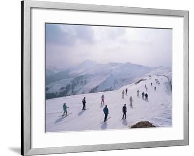 Skiers, Steinberkogel Area, Kitzbuhel, Austria-Adam Woolfitt-Framed Photographic Print