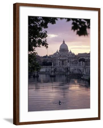 Skyline of St. Peter's from Ponte Umberto, Rome, Lazio, Italy-Adam Woolfitt-Framed Photographic Print