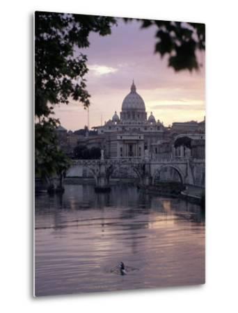 Skyline of St. Peter's from Ponte Umberto, Rome, Lazio, Italy-Adam Woolfitt-Metal Print