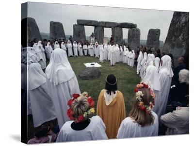 Druids at Stonehenge, Wiltshire, England, United Kingdom-Adam Woolfitt-Stretched Canvas Print