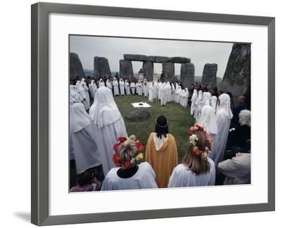 Druids at Stonehenge, Wiltshire, England, United Kingdom-Adam Woolfitt-Framed Photographic Print