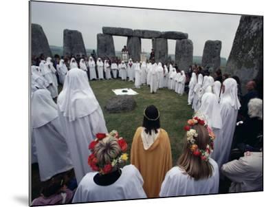 Druids at Stonehenge, Wiltshire, England, United Kingdom-Adam Woolfitt-Mounted Photographic Print