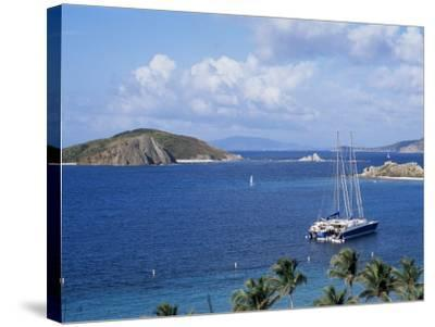 Boats off Dead Man's Beach, Peter Island Resort, British Virgin Islands-Alison Wright-Stretched Canvas Print