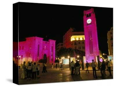 Place d'Etoile at Night, Beirut, Lebanon, Middle East-Alison Wright-Stretched Canvas Print