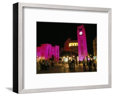 Place d'Etoile at Night, Beirut, Lebanon, Middle East-Alison Wright-Framed Photographic Print