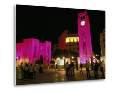 Place d'Etoile at Night, Beirut, Lebanon, Middle East-Alison Wright-Metal Print
