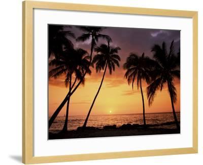 Sunset, Kohala Coast, Island of Hawaii, Hawaiian Islands, USA--Framed Photographic Print