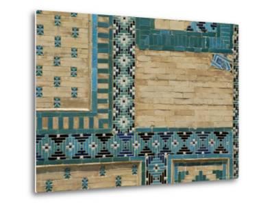 Close-Up of Turquoise Ceramics, Shah-I-Zinda Mausoleum, Samarkand, Uzbekistan, Central Asia-Upperhall-Metal Print