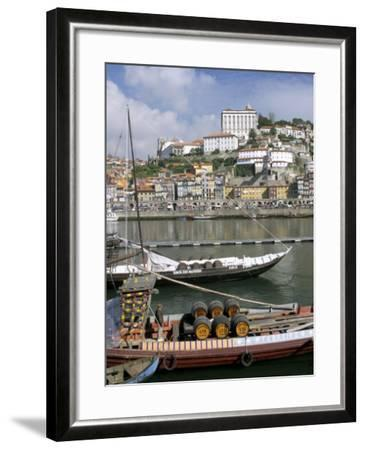 Port Barges on Douro River, with City Beyond, Oporto (Porto), Portugal-Upperhall-Framed Photographic Print