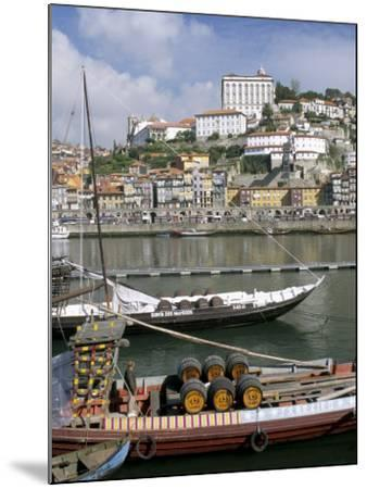 Port Barges on Douro River, with City Beyond, Oporto (Porto), Portugal-Upperhall-Mounted Photographic Print