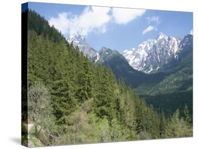 Hiker at Lomnicky Stit, High Tatra Mountains, Slovakia-Upperhall-Stretched Canvas Print