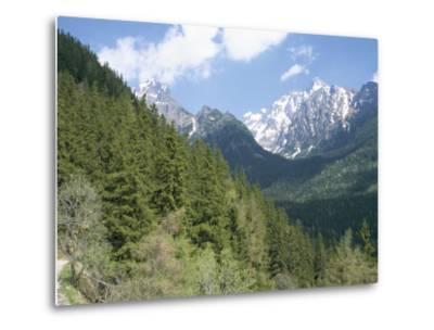 Hiker at Lomnicky Stit, High Tatra Mountains, Slovakia-Upperhall-Metal Print