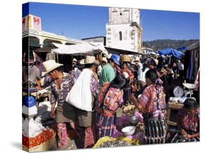 Women in Traditional Dress in Busy Tuesday Market, Solola, Guatemala, Central America-Upperhall-Stretched Canvas Print