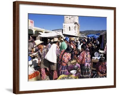 Women in Traditional Dress in Busy Tuesday Market, Solola, Guatemala, Central America-Upperhall-Framed Photographic Print