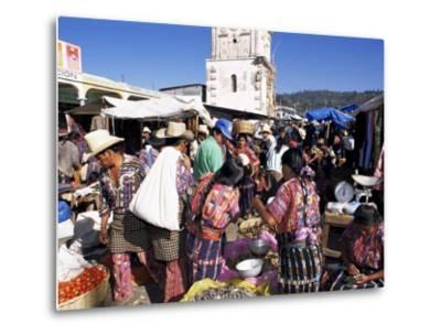 Women in Traditional Dress in Busy Tuesday Market, Solola, Guatemala, Central America-Upperhall-Metal Print