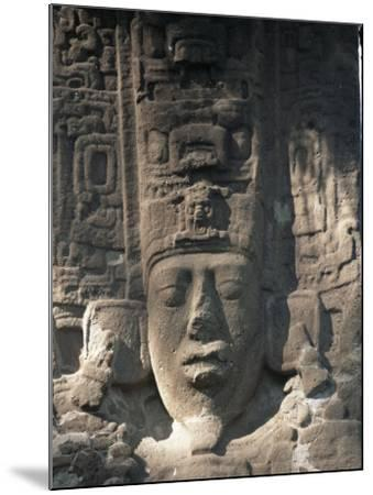 Close-Up of Stele E, Mayan Ruins, Quirigua, Unesco World Heritage Site, Guatemala, Central America-Upperhall-Mounted Photographic Print