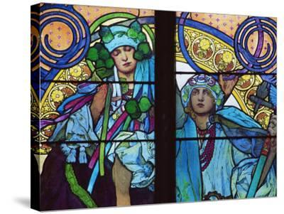 Stained Glass by Mucha, St. Vitus Cathedral, Prague, Czech Republic-Upperhall-Stretched Canvas Print