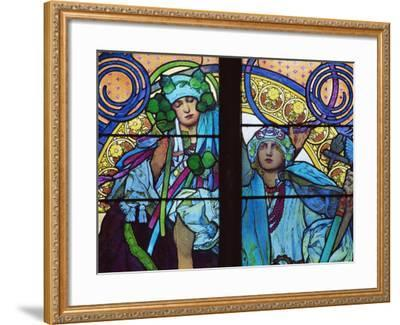 Stained Glass by Mucha, St. Vitus Cathedral, Prague, Czech Republic-Upperhall-Framed Photographic Print
