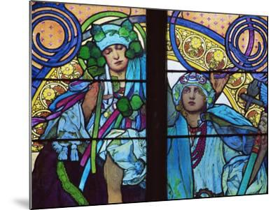 Stained Glass by Mucha, St. Vitus Cathedral, Prague, Czech Republic-Upperhall-Mounted Photographic Print