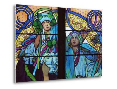 Stained Glass by Mucha, St. Vitus Cathedral, Prague, Czech Republic-Upperhall-Metal Print