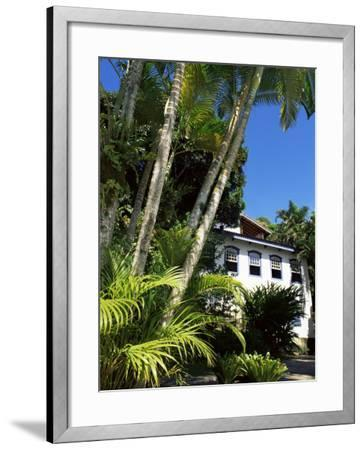 Pousada and Palms, Pousada Picinguaba, Costa Verde, South of Rio, Brazil, South America-Upperhall-Framed Photographic Print