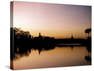 Sunset on Royal Lake, Yangon (Rangoon), Myanmar (Burma)-Upperhall-Stretched Canvas Print