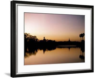 Sunset on Royal Lake, Yangon (Rangoon), Myanmar (Burma)-Upperhall-Framed Photographic Print