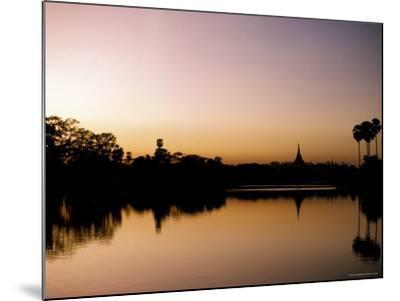 Sunset on Royal Lake, Yangon (Rangoon), Myanmar (Burma)-Upperhall-Mounted Photographic Print