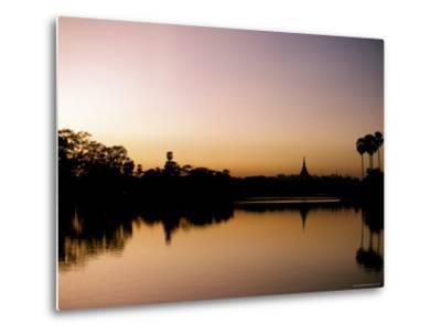 Sunset on Royal Lake, Yangon (Rangoon), Myanmar (Burma)-Upperhall-Metal Print