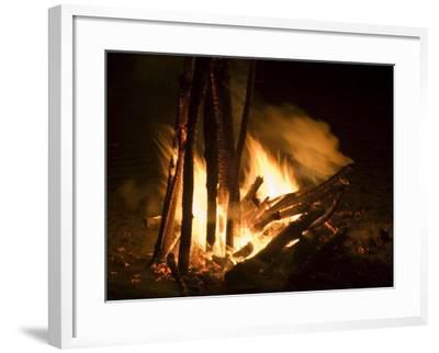 Bonfire on Beach, Punta Islita, Nicoya Pennisula, Pacific Coast, Costa Rica, Central America-R H Productions-Framed Photographic Print