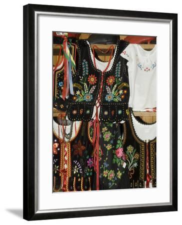 Polish Goods on Market Stalls in the Cloth Hall, Main Market Square (Rynek Glowny), Krakow, Poland-R H Productions-Framed Photographic Print