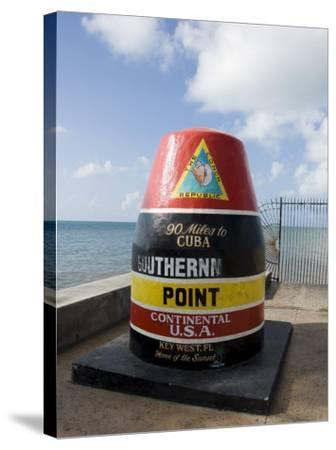Old Buoy Used as Marker for the Furthest Point South in the United States, Key West, Florida, USA-R H Productions-Stretched Canvas Print