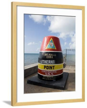 Old Buoy Used as Marker for the Furthest Point South in the United States, Key West, Florida, USA-R H Productions-Framed Photographic Print