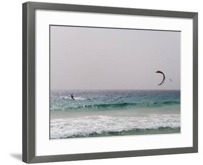 Kite Surfing at Santa Maria on the Island of Sal (Salt), Cape Verde Islands, Africa-R H Productions-Framed Photographic Print