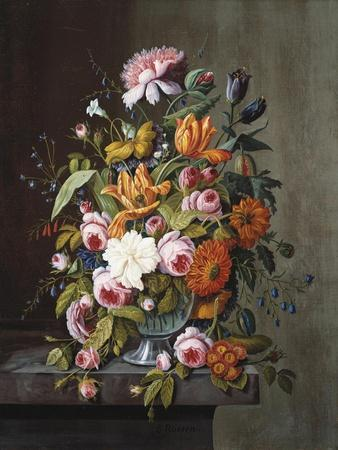Summer Flowers in a Glass Bowl-Frederic Edwin Church-Framed Giclee Print