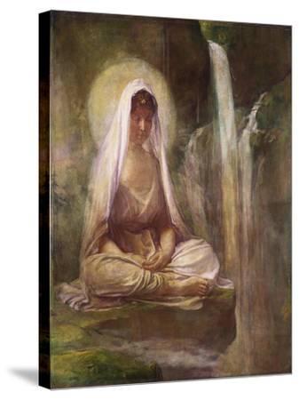 Kwannon Meditating on Human Life-William Bradford-Stretched Canvas Print