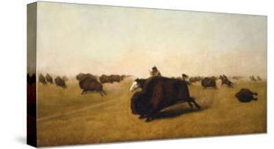 Buffalo Hunt on the Plains, 1872-William J. Hays-Stretched Canvas Print