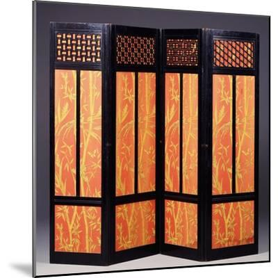 An Ebonised Four Fold Aesthetic Movement Screen, English Circa 1875--Mounted Giclee Print