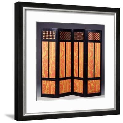An Ebonised Four Fold Aesthetic Movement Screen, English Circa 1875--Framed Giclee Print