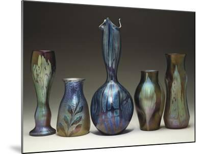 A Collection of Iridescent Glass Vases by Loetz-Adler & Sullivan-Mounted Giclee Print