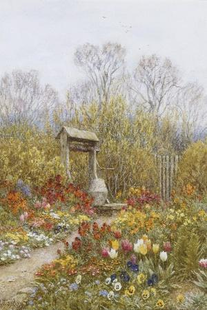 An Old Well, Brook, Surrey-Helen Allingham-Stretched Canvas Print